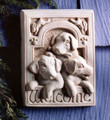 """PLAYFUL PUPPIES"" STONE WELCOME WALL SCULPTURE - NATURAL STONE FINISH - GARDEN PLAQUE"