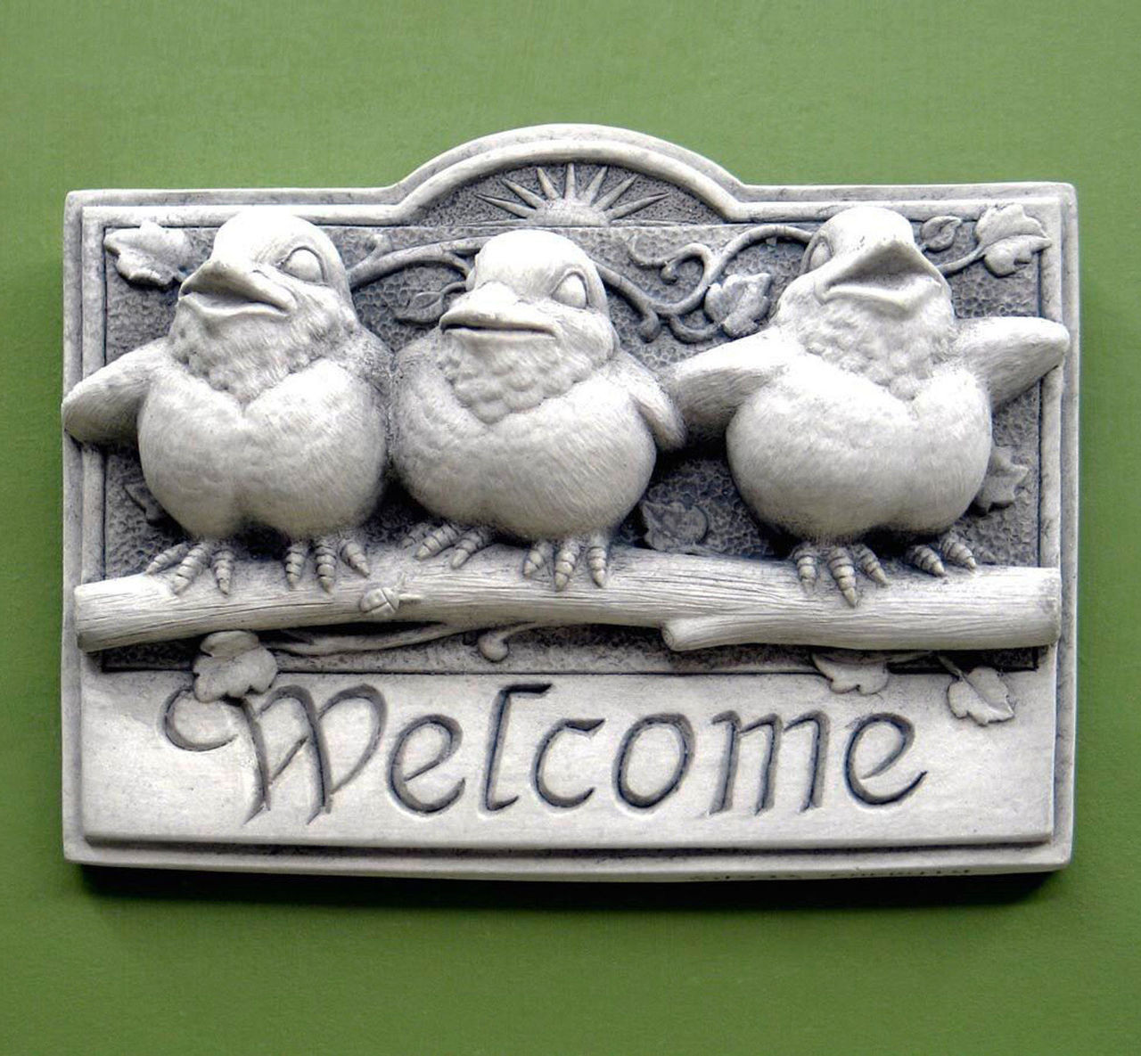 """DESIGNER WHITE FINISH /""""CAT AND MOUSE/"""" STONE WELCOME WALL SCULPTURE WALL ART"""