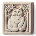 """FAT CAT"" STONE WALL SCULPTURE - NATURAL STONE FINISH - GARDEN PLAQUE"
