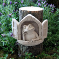 """FROGGY IN THE WINDOW"" STONE WALL SCULPTURE - NATURAL STONE FINISH - GARDEN PLAQUE"