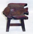 FANCIFUL FISH FOOTSTOOL - WOOD STAIN FINISH