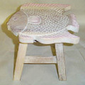 FANCIFUL FISH WOODEN FOOTSTOOL - WHITE WASH FINISH