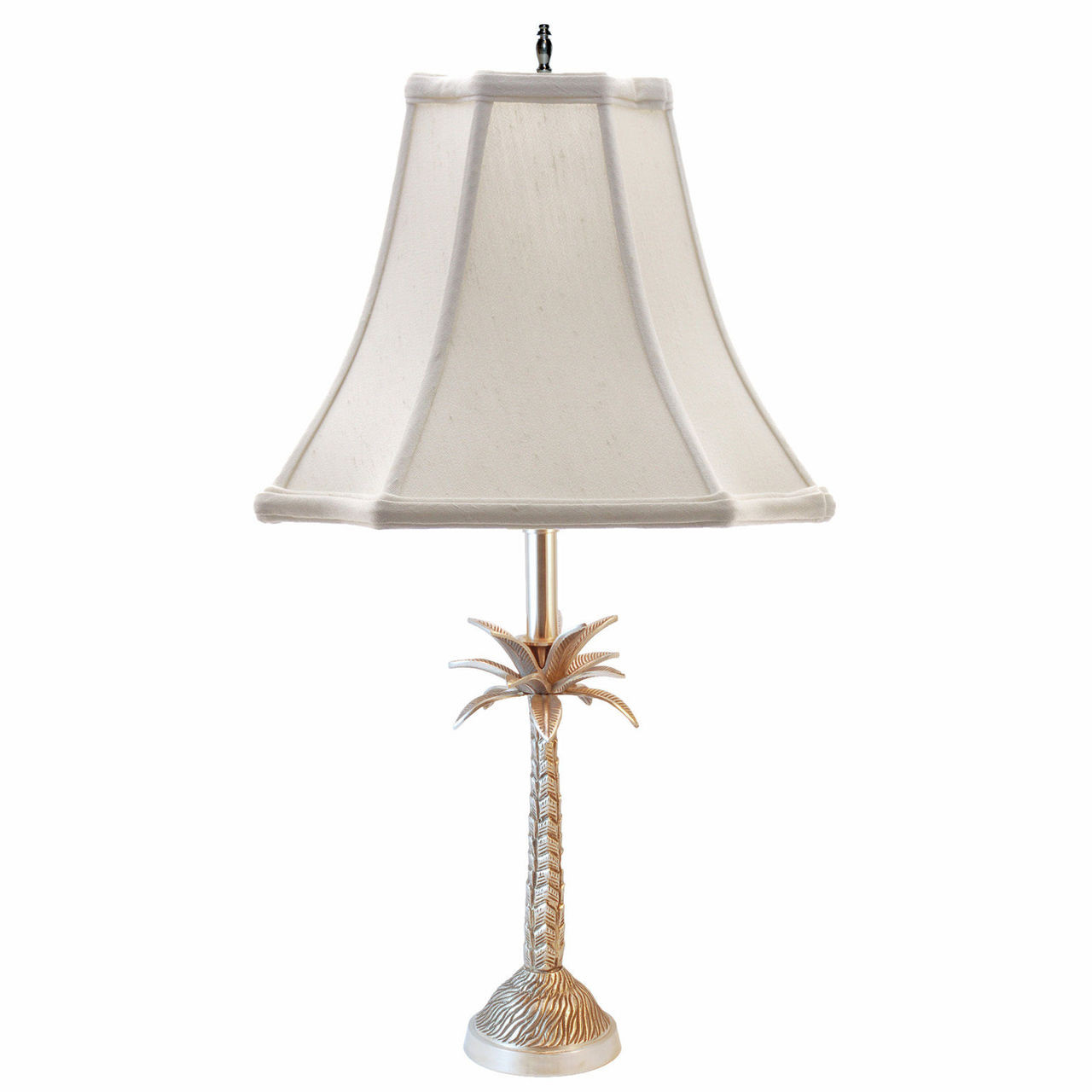 Barbados Palm Tree Table Lamp Pewter Finish Off White Shade 25 H