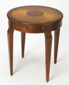 HYDE PARK ROUND INLAID SIDE TABLE - OLIVE ASH BURL - FREE SHIPPING*
