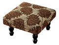 PINE CONE LODGE FOOTSTOOL - FOOT STOOL - HAND HOOKED SEAT COVER