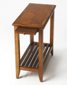 BRADENHAM CHAIR SIDE TABLE WITH PULL OUT TRAY - OLIVE ASH BURL FINISH - FREE SHIPPING*
