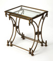 CHARTRES GLASS TOP NESTING TABLES - SET OF TWO - ANTIQUE GOLD FINISH - FREE SHIPPING*