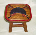 EQUESTRIAN RIDING HELMET & CROSSED CROPS WOODEN FOOTSTOOL