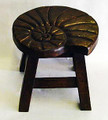 NAUTILUS SHELL FOOTSTOOL - WOOD STAIN FINISH