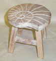 NAUTILUS SHELL WOODEN FOOTSTOOL - WHITE WASH FINISH - NAUTICAL DECOR