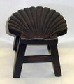 SCALLOP SHELL WOODEN FOOTSTOOL - WOOD STAIN FINISH - NAUTICAL DECOR