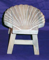 SCALLOP SHELL WOODEN FOOTSTOOL - WHITE WASH FINISH - NAUTICAL DECOR
