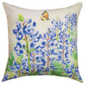"BUTTERFLY & BLUEBONNETS PILLOW - 18"" SQUARE - INDOOR OUTDOOR PILLOW"