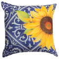 """COSTA DEL SOL"" INDOOR OUTDOOR SUNFLOWER PILLOW - 18"" SQUARE -  FLORAL DECOR"