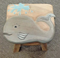 """SPOUTING WHALE"" WOODEN FOOTSTOOL - WHALE FOOT STOOL - NAUTICAL DECOR"