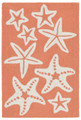 """SENSATIONAL STARFISH"" INDOOR OUTDOOR RUG - CORAL -  20"" x 30"""
