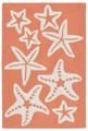 """""""SENSATIONAL STARFISH"""" INDOOR OUTDOOR RUG - CORAL - 24"""" x 36"""""""