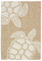 """TURTLE KEY"" SEA TURTLE RUG - NATURAL - INDOOR OUTDOOR RUG  - 24"" x 36"""