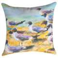 """FLOCK OF SEAGULLS"" INDOOR OUTDOOR THROW PILLOW - 18"" SQUARE - SEAGULL PILLOW"