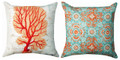 """CORAL REEF"" INDOOR OUTDOOR REVERSIBLE PILLOW - 18"" SQUARE - NAUTICAL DECOR"