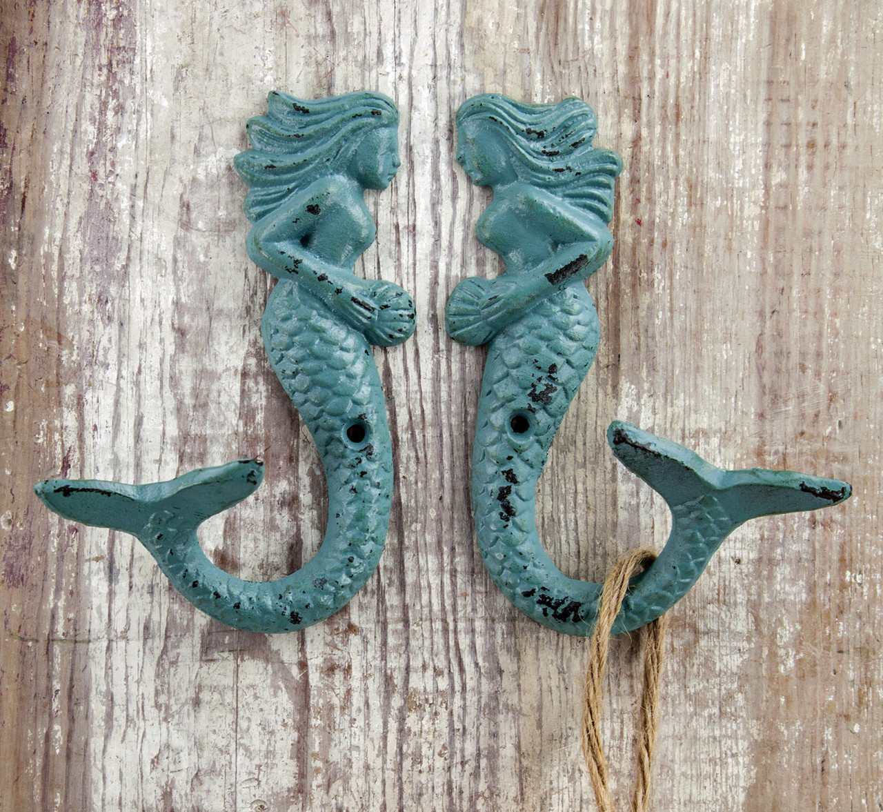 """/""""MYTHICAL MERMAIDS/"""" WALL HOOKS SET OF TWO CAST IRON WALL HOOKS WALL HOOKS"""