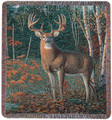 """WOODLAND SENTINEL"" DEER TAPESTRY THROW BLANKET - 50"" x 60"" -  LODGE DECOR"