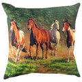 """WILD HORSES"" INDOOR OUTDOOR PILLOW - 18"" SQUARE -  EQUESTRIAN DECOR"