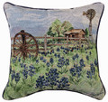 """BLUEBONNET RANCH"" TAPESTRY THROW PILLOW - 17"" SQUARE - TEXAS BLUEBONNETS"