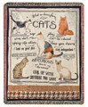 """WHAT WE LEARN FROM CATS"" TAPESTRY THROW BLANKET - 50"" X 60"""