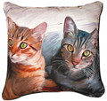 """WIDE EYED WONDER"" TABBY CAT PILLOW - 18"" SQUARE"