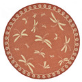 "DRAGONFLY DANCE RUG - TERRACOTTA - INDOOR OUTDOOR RUG - 7'10"" ROUND"