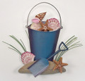SEASHORE TREASURES METAL WALL SCULPTURE - BUCKET OF SEASHELLS