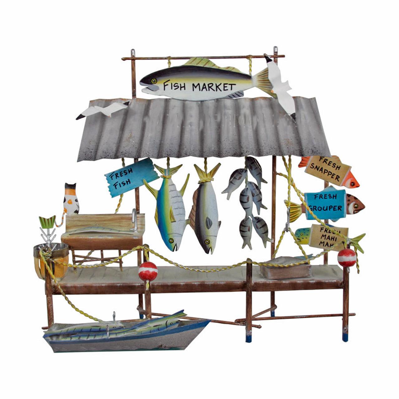 Island Fish Market Metal Wall Sculpture Coastal Nautical Decor
