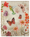 """SECRET GARDEN"" THROW BLANKET - 50"" X 60"" - HUMMINGBIRD - BUTTERFLY"
