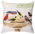 """BATHING BEAUTIES"" INDOOR OUTDOOR THROW PILLOW - 18"" SQUARE - BIRDS AT BIRD BATH PILLOW"