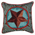 """WESTERN STAR"" TAPESTRY PILLOW - BLUE - 17"" SQUARE - WESTERN DECOR"