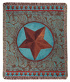 """WESTERN STAR"" TAPESTRY THROW BLANKET - BLUE - RANCH - WESTERN"