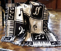 "MUSIC LESSONS THROW BLANKET - 46"" X 60"" - MUSICAL NOTES - PIANO KEYS"