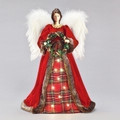 ANGEL WITH CHRISTMAS WREATH LED LIGHTED TREE TOPPER  - CHRISTMAS DECORATION