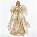 "IVORY AND GOLD ANGEL CHRISTMAS TREE TOPPER - 17""H"