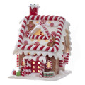 CHRISTMAS DECORATIONS - LED LIGHTED PEPPERMINT STICK GINGERBREAD HOUSE