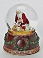 KNEELING SANTA & BABY JESUS MUSICAL SNOW GLOBE - CHRISTMAS DECORATION