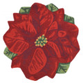 POINSETTIA INDOOR OUTDOOR RUG  - 3' ROUND - CHRISTMAS RUG