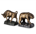 """STOCK MARKET"" BULL AND BEAR BOOKENDS - CAST METAL BOOK ENDS"