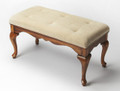 BRANDERMILL UPHOLSTERED VANITY BENCH - OLIVE ASH BURL FINISH - FREE SHIPPING*