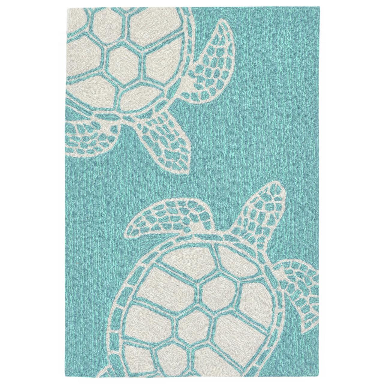 Turtle Key Sea Turtle Rug Blue Green 24 X 36 Indoor Outdoor Rug