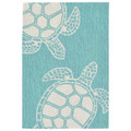 """TURTLE KEY"" SEA TURTLE RUG - BLUE GREEN - 24"" x 36"" - INDOOR OUTDOOR RUG"