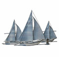 TRIO OF SAILBOATS METAL WALL SCULPTURE - COASTAL & NAUTICAL DECOR