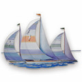 SPECTACULAR SAILBOATS METAL WALL SCULPTURE - COASTAL & NAUTICAL DECOR