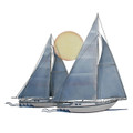 SAILBOATS AT SUNSET METAL WALL SCULPTURE - NAUTICAL DECOR